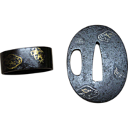 Samurai Sword Tsuba and Fuchi Wakizashi Iron with Inlay EDO period
