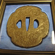 Antique Tsuba EDO Period Samurai Sword Katana Guard in Wood Frame