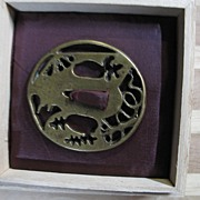 EDO period Bronze/Copper Tsuba with wood box