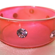 Fabulous 1960s Rhinestone Studded Hot Pink Lucite Bangle Bracelet Old New Stock