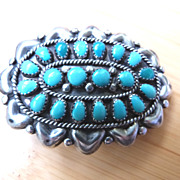 Vintage Hopi Native American Belt Buckle Sterling Silver and Turquoise
