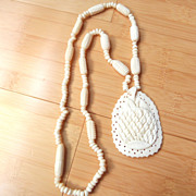 Vintage Hand-Carved Bone Necklace