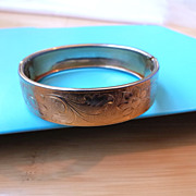 Vintage Gold Filled Bangle Bracelet Chased Floral Leaf Design