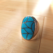 Native American Sterling Silver Turquoise Man's Ring Channel Inlay Turquoise