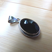 Vintage Mexico Sterling Silver and Onyx Pendant