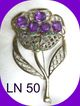 "Rare Vintage LN 50 ""Little Nemo"" Large Rhinestone Brooch Pin"