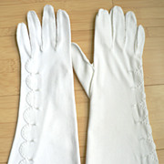 Vintage 1960's  Long Ladies Beaded Cotton White Dress Gloves