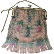 True Victorian German Dresden Mesh Evening Purse / Floral Design