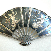 Vintage 1930's Large Niello Siam Sterling Silver Fan Pin with Gods