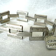 Art Deco Sterling Silver Link Bracelet Old New Stock with Tag