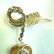 Vintage Ladies Eastern Star FATAL Masonic Brooch Pin Dangle Heart Star