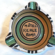 Vintage &quot;Hotel Reale Roma&quot; Italy Pottery Advertising Ash Tray