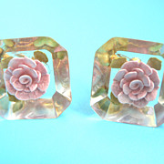 Vintage Reverse Carved Lucite Pink Rose 1950's Earrings