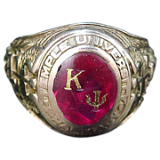 10k Solid Gold Kappa Psi 1950 Temple University Fraternity Ring