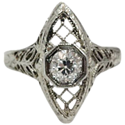 14k White Gold Filigree Art Deco 1/2 Carat Diamond Ring