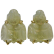 14k Gold Natural Pale Yellow Carved Jade Buddha Screw Back Earrings