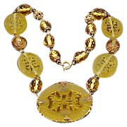 1930's Czechoslovakia Amber Cut Glass & Brass Necklace