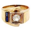 14k Gold Retro 1/2 Carat Mine Cut Diamond Ring with 2 Sapphires Circa 1940's