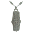 14k White Gold Filigree & Diamonds Art Deco 1920's Necklace