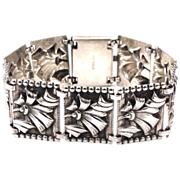 Art Deco Solid Sterling Silver Bracelet with Ribbons & Bows
