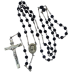 Sterling Silver & Faceted Jet Glass Mourning Rosary Circa 1920's