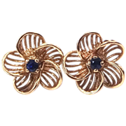 14k Gold & Sapphires Floral Pierced Earrings