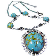 Extraordinary Rhodium, Enamel & Turquoise Glass 1930's Czeck Necklace