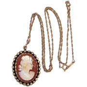 14k Gold Carved Shell Cameo Pendant on 14k Gold Chain