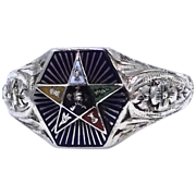 14k White Gold Enamel Circa 1920's Eastern Star Ring