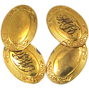 10k Gold Late Victorian Era Cufflinks Monogrammed &quot;MB&quot;