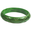 Carved Mottled Green Bakelite Bangle Bracelet