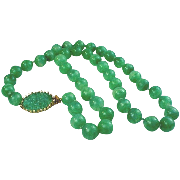 Joseph Mazer Jade Green Glass Necklace