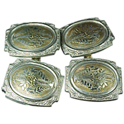 Platinum & 14k Art Deco Cufflinks w/Baskets on Them