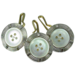 3 Platinum 14K Gold & Mother of Pearl Vest Buttons or Cufflinks