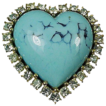 Ciner Rhinestone & Faux Turquoise Heart Shaped Pin