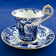 ROYAL CROWN DERBY 'Blue Mikado' c1916 demitasse cup & saucer RARE