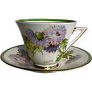 ROYAL DOULTON c1950 'Glamis Thistle' cup & saucer Percy Curnock R.1938