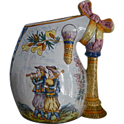 REDUCED HENRIOT QUIMPER c.1910 signed bagpipe form vase, figural, armorial, antique French fai