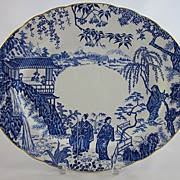 ROYAL CROWN DERBY 'Blue Mikado' c.1950 large oval platter
