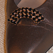 MUSI Shoe Clip  Black Jet Austrian Crystal Rhinestones w/Gold Plating.