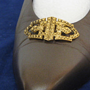 MUSI Shoe Clip  Cast Metal Faux Marcasite Oval with Points