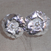 Silver Leather Flower Clip Earring with Rhinestone Center