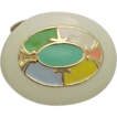 MUSI Shoe Clip - Oval Gold Metal Casting with Multi Colored Epoxy