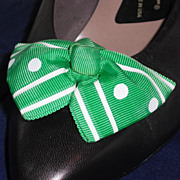 MUSI Shoe Clip  Kelly Green/White Polka Dot Stripe
