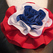 MUSI Shoe Clip  Large Red/White/Blue (Patriotic) Faille Rosette