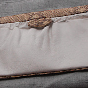 REDUCED Susan Gail White Clutch Bag with Camel/Brown Snake Trim