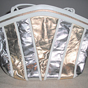 REDUCED White, Gold and Silver Shoulder/Cross Body Strap Purse