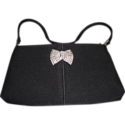 Black Evening Bag with Rhinestone Pin