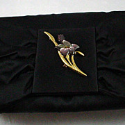 Black Satin Envelope Evening Bag Made by Siso Italy