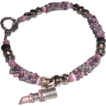 Pink Tweed Seed Bead Bracelet with Breast Cancer Charm